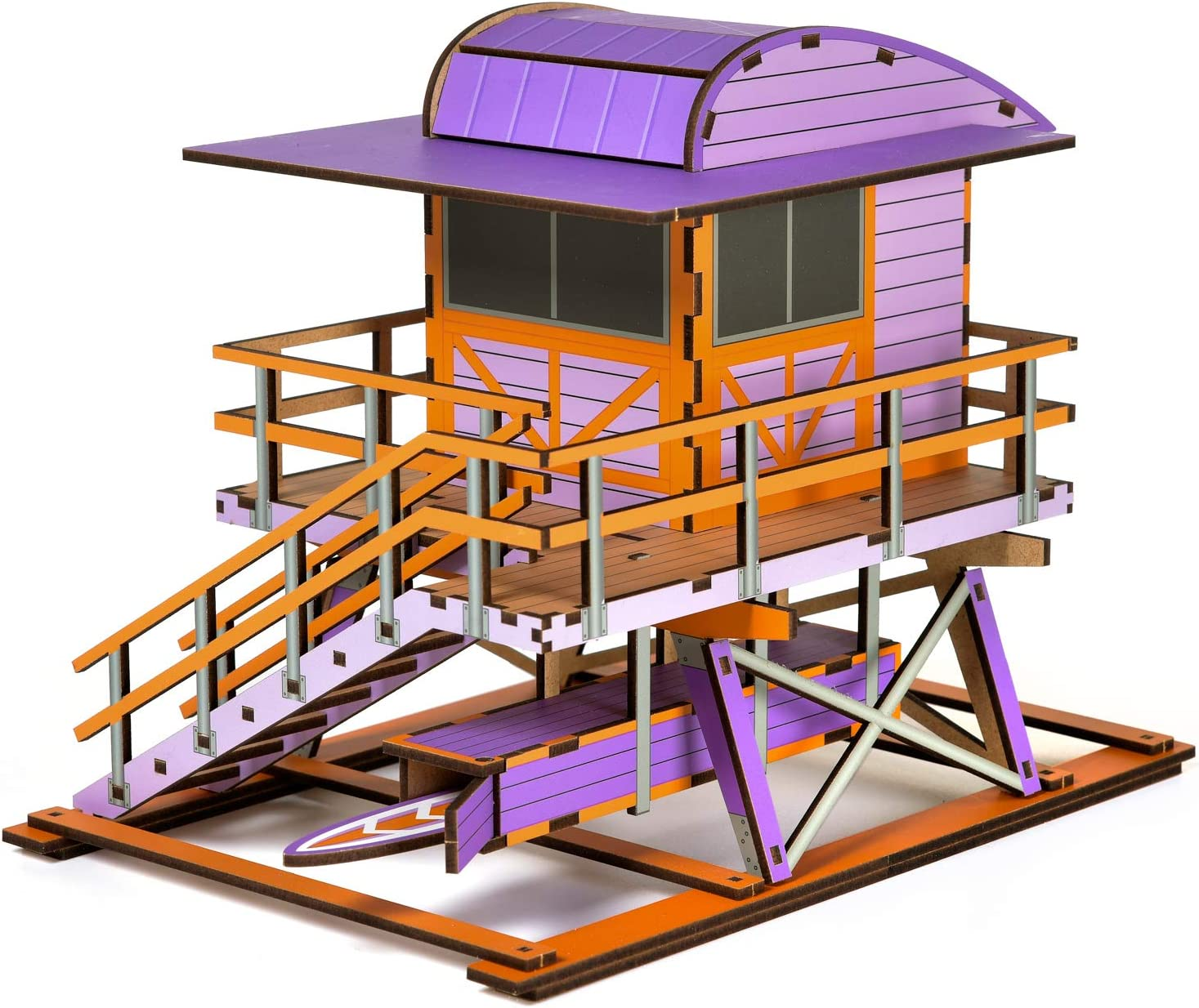 Miami Lifeguard Tower Model, Violette Color, DIY Wood Craft Puzzle, Decorative Souvenir for Assembly at Home, Highly Detailed Wooden Model, Easy Assembly