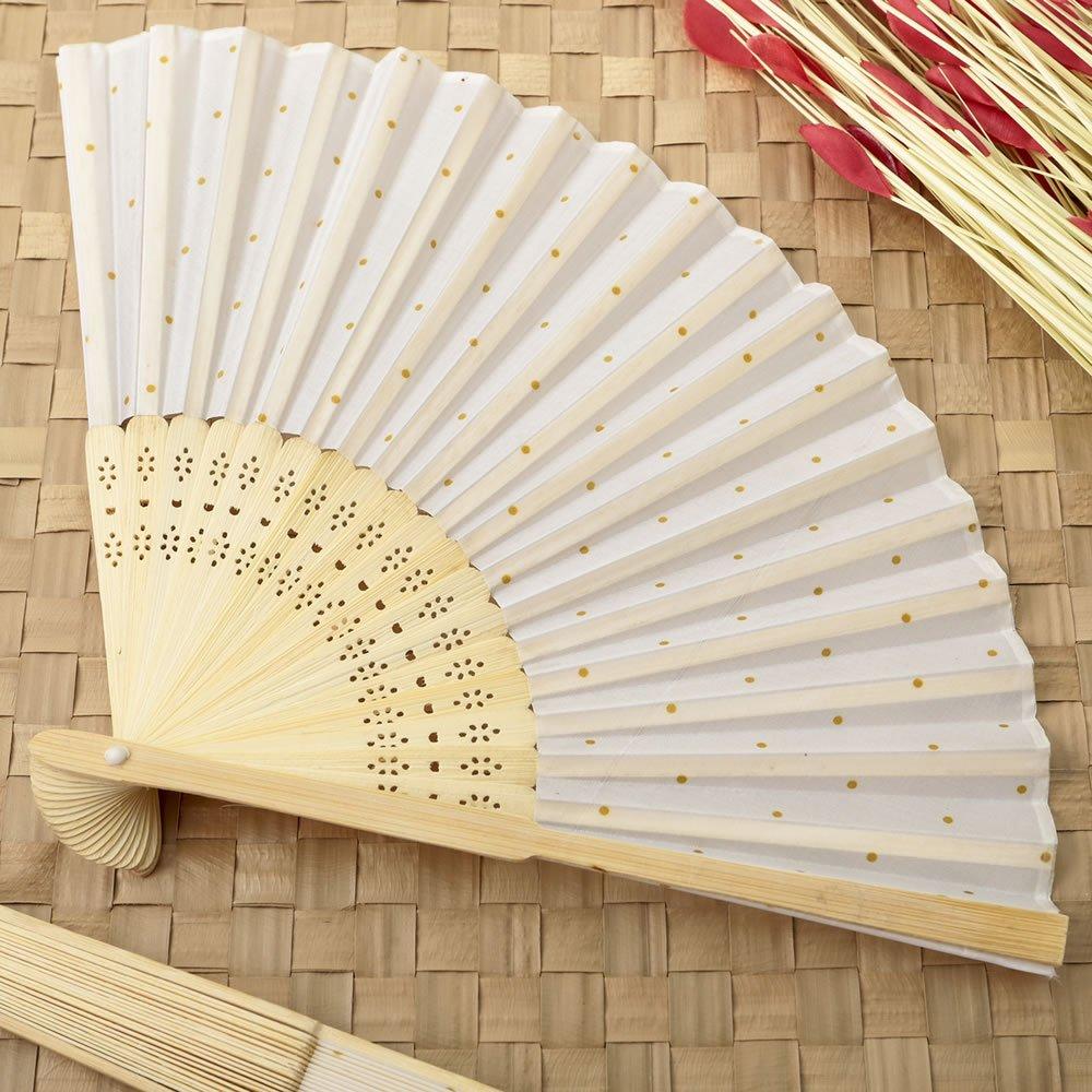 96 White w/ Gold Dot Silk Folding Fan Favors by Fashioncraft