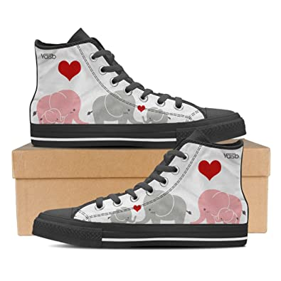 Cute Elephant - Womens High Top Canvas Sneakers Black
