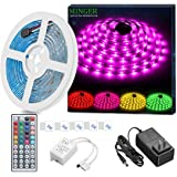 RGB LED Strip Lights MINGER Waterproof 16.4ft SMD 5050 Rope Lighting Color Changing with 44-keys IR Remote Controller & 12V 3A Power Supply Flexible LED Lighting Strips for Home Kitchen Decoration