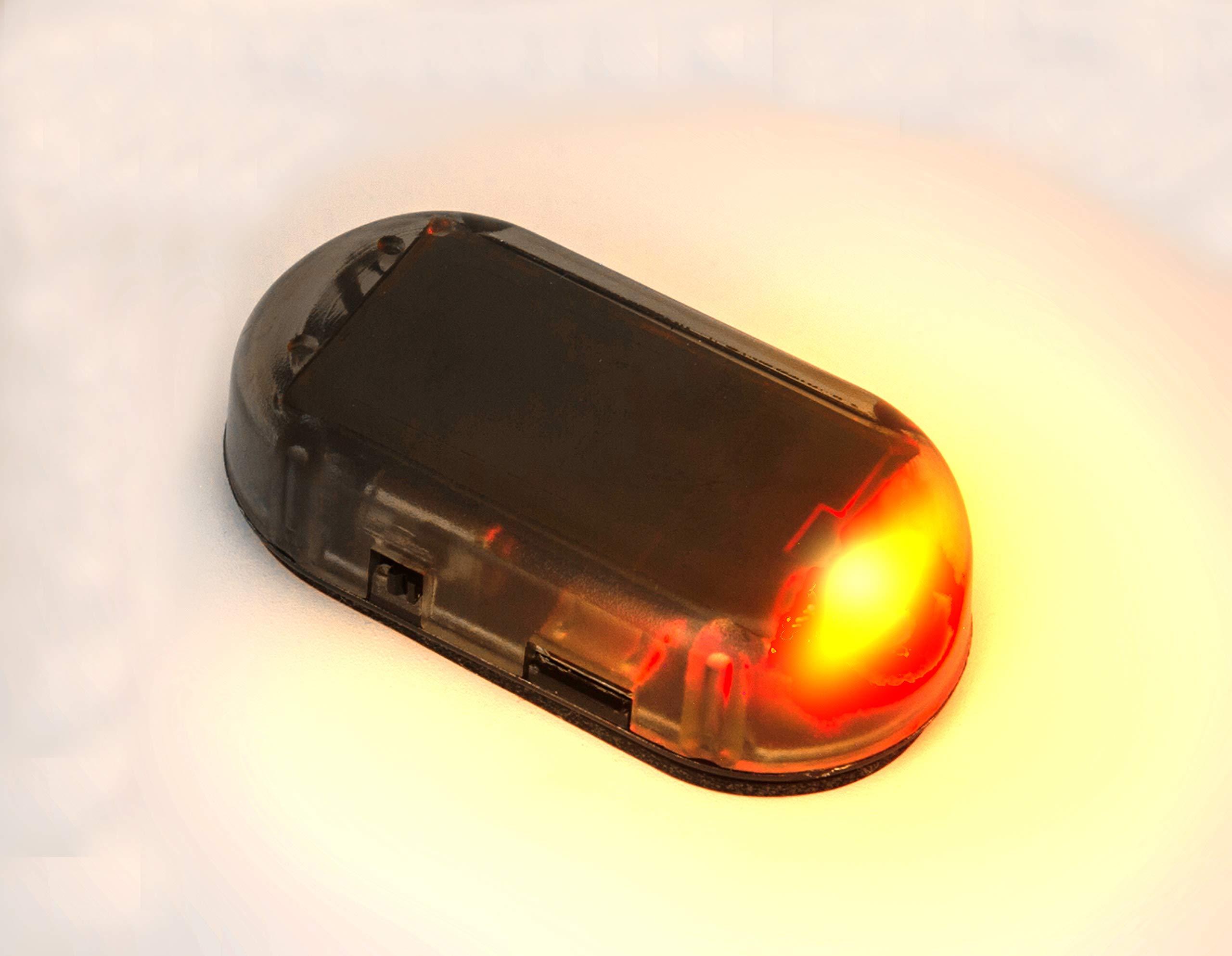 PerfecTech Car Solar Power Simulated Dummy Alarm Warning Anti-Theft LED Flashing Security Light Fake Lamp Red
