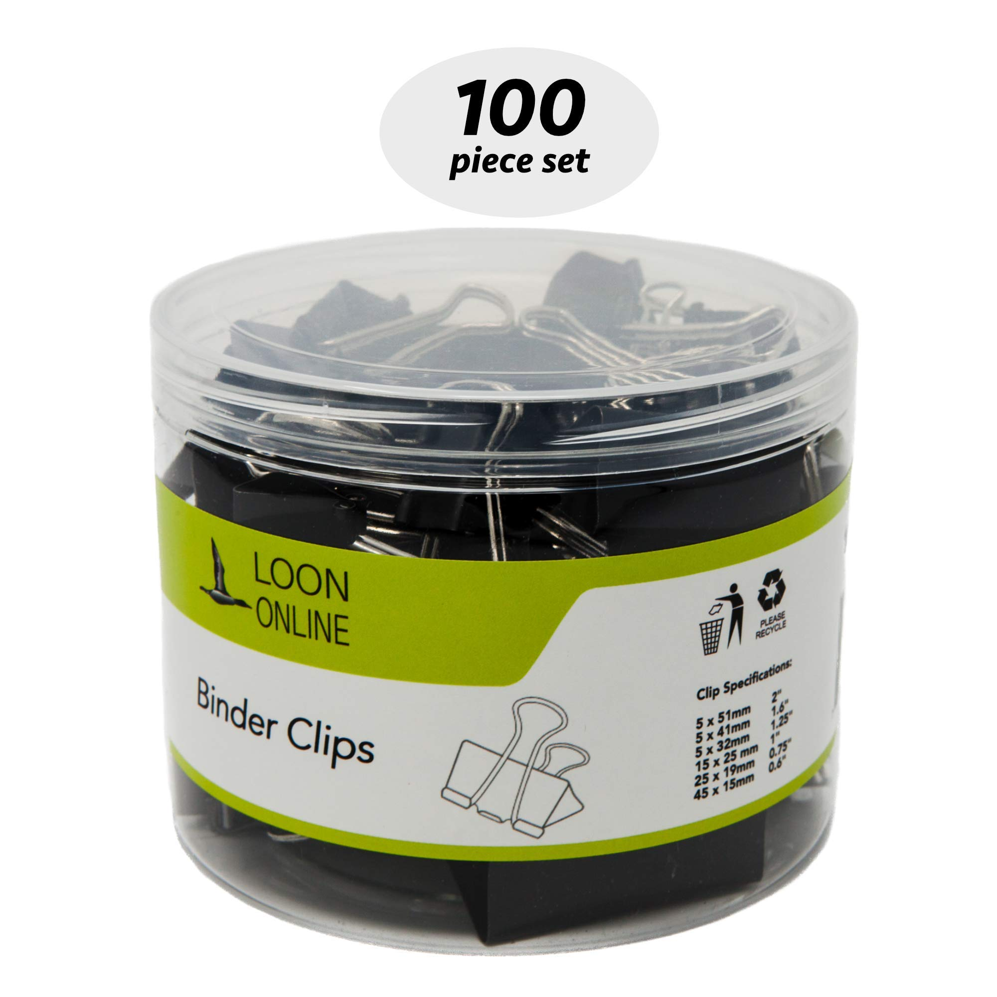 Binder Paper Bulldog Clips by Loon Online | Mini Small Medium Large Jumbo Assorted Sizes Paper Holder in Tub/Box Black 100 pcs