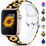 Sport Band Compatible with Apple Watch Bands 38mm 40mm 42mm 44mm for Women Men,Floral Silicone Printed Fadeless Pattern Repla