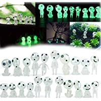 20 Pcs/Set Mononoke Luminous Tree Elves Dolls, Kodama Figures Glow in Dark, Resin Garden Gnome Statue Garden Micro…