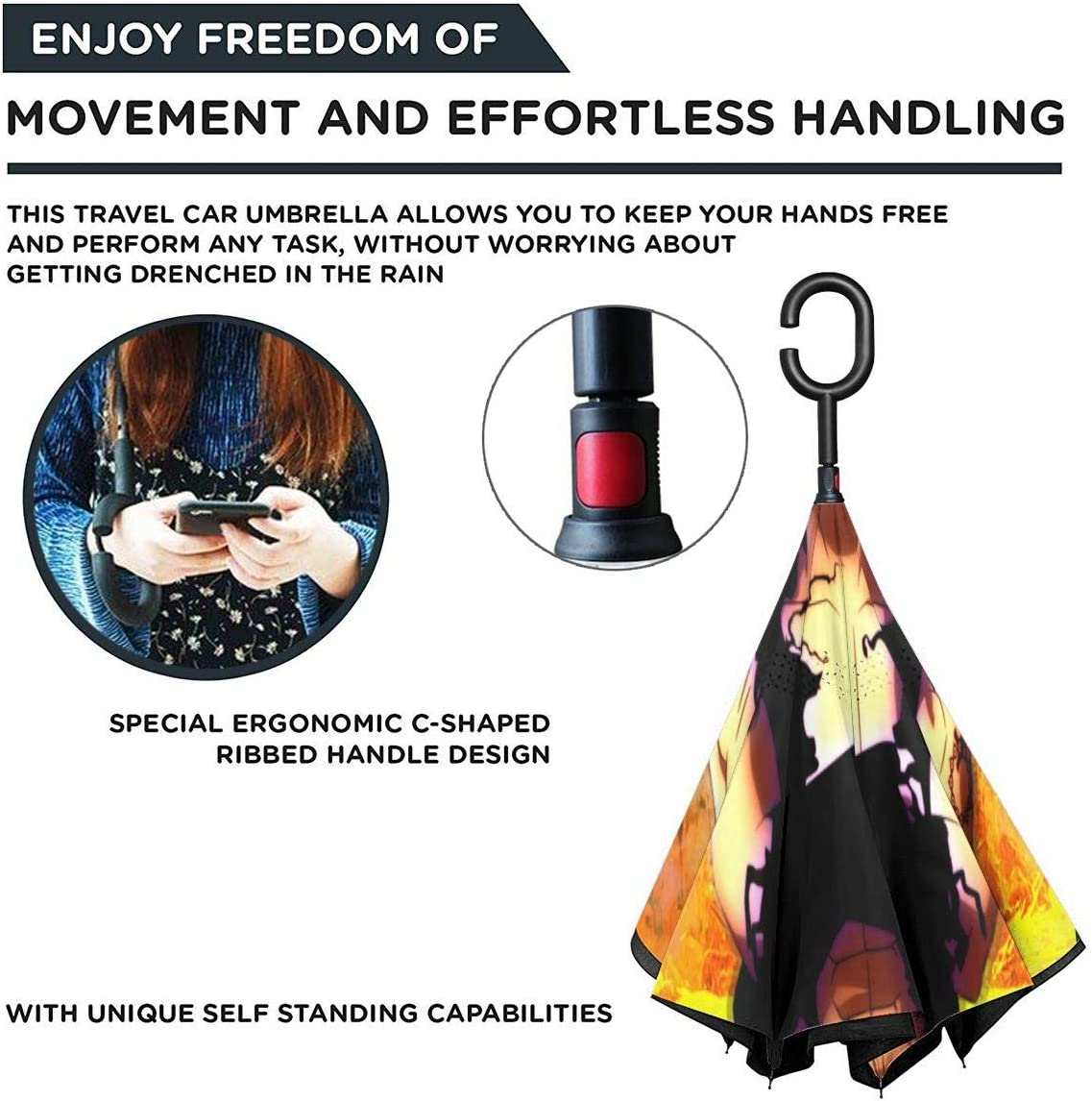 Windproof And Rainproof Double Folding Inverted Umbrella The Seven Deadly Sins Car Reverse Umbrella With C-Shaped Handle UV Protection Inverted Folding Umbrellas
