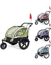 SAMAX Children Bike Trailer 2in1 Kids Jogger Stroller with Suspension 360° rotatable Childs Bicycle Trailer Transport Buggy Carrier for 2 Kids in Green - Black Frame