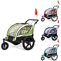 SAMAX Children Bike Trailer 2in1 Kids Jogger Stroller with Suspension 360° rotatable Childs Bicycle Trailer Transport Buggy Carrier for 2 Kids in Blue - Silver Frame