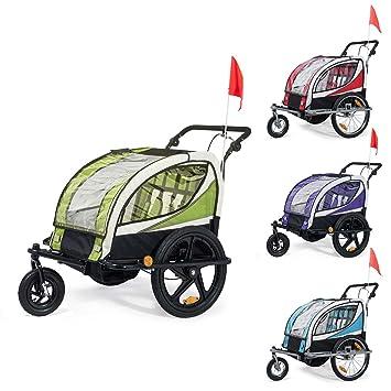 SAMAX Remolque de Bicicleta para Niños 360° girable Kit de Footing Transportín Silla Cochecito Carro Suspensíon Infantil Carro en Azul - Silver Frame