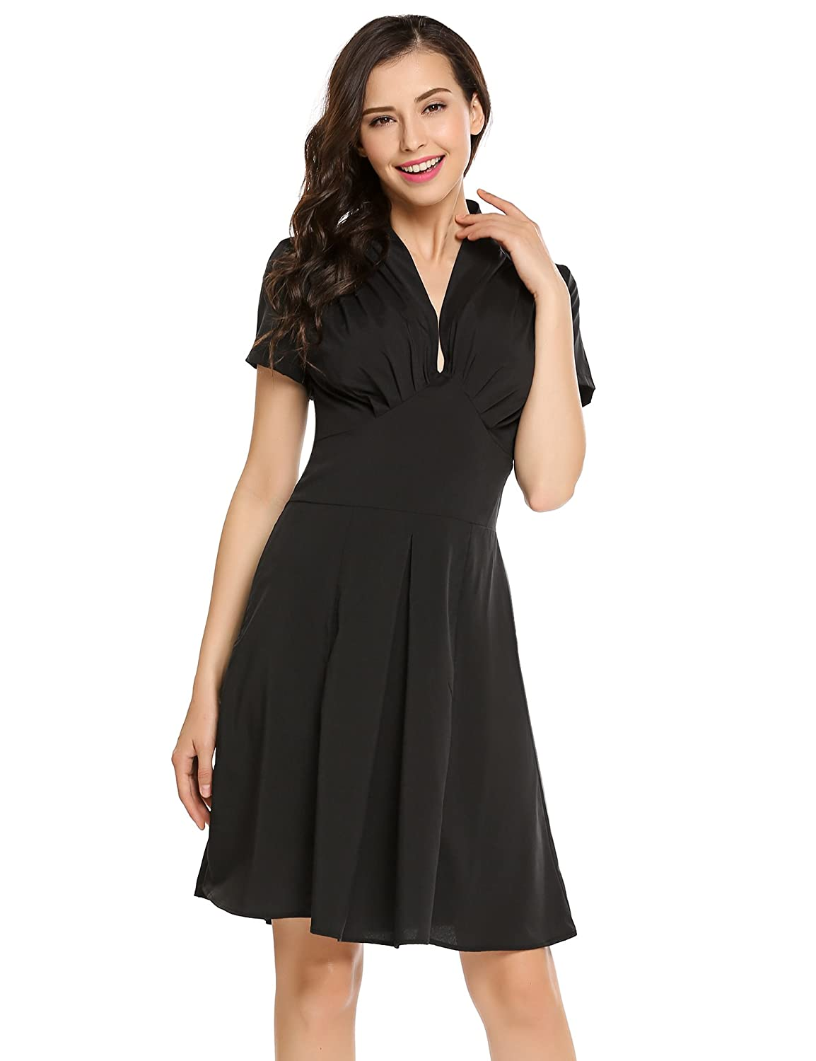 1572492a9a6 Finejo Women s V-Neck Short Sleeve Ruched Waist Fit and Flare Wrap Dress at  Amazon Women s Clothing store