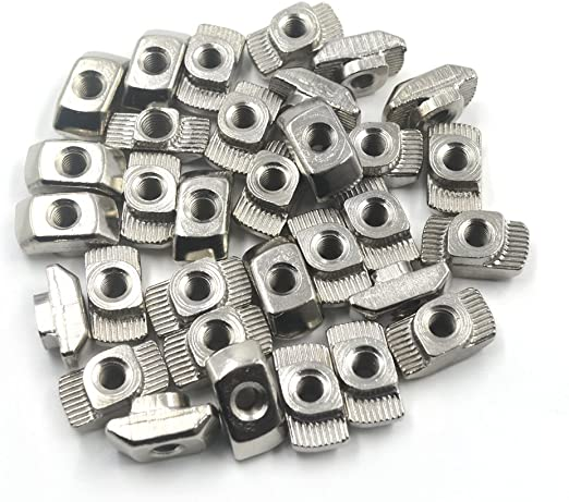 20 Series Aluminum Slot Carbon Steel Half Round Roll in Spring T Slot Nut with M4 Thread 30pcs T Slot Nut