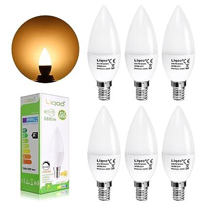 Liqoo® 6x 7W Bombilla LED E14 Vela Bulbo Lámpara Regulable Bajo Consumo Blanco Cálido 3000K