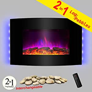 """AKDY 36"""" Wall Mount 2-in-1 Log and Pebble Style Indoor Electric Fireplace Heater"""