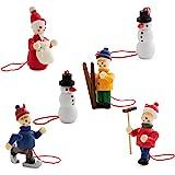 BRUBAKER 6 Handpainted Wooden Christmas Tree Ornaments Decoration Winter Outdoor Activity- Santa Claus, Snowman, Ice Skater,