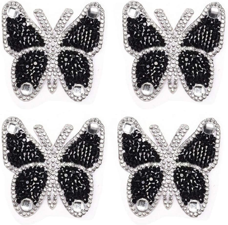 Diamante BUTTERFLY Crystal Shoe Dress Patch Applique Beaded Trim Motif Sew On
