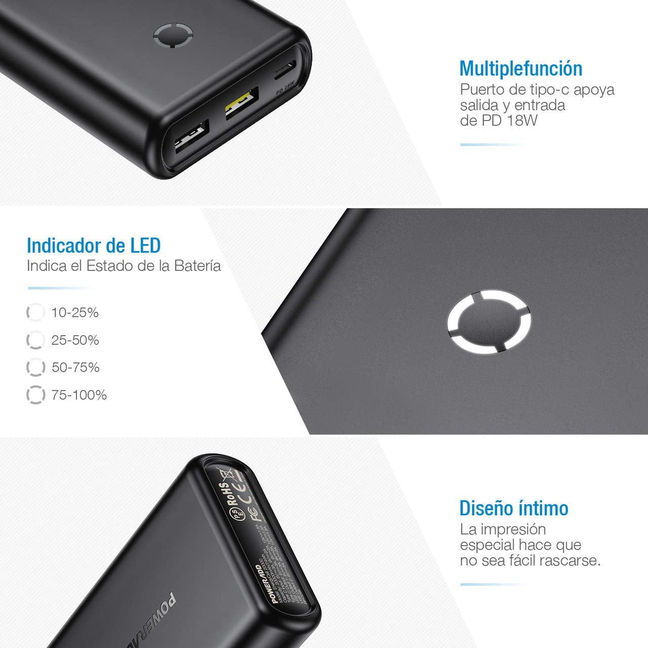 POWERADD 20000mAh Power Bank Batería Externa Power Delivery 18W con Type C Puerto de Entrada y Salida para Cargar Samsung, iPhone, iPad y más-Negro