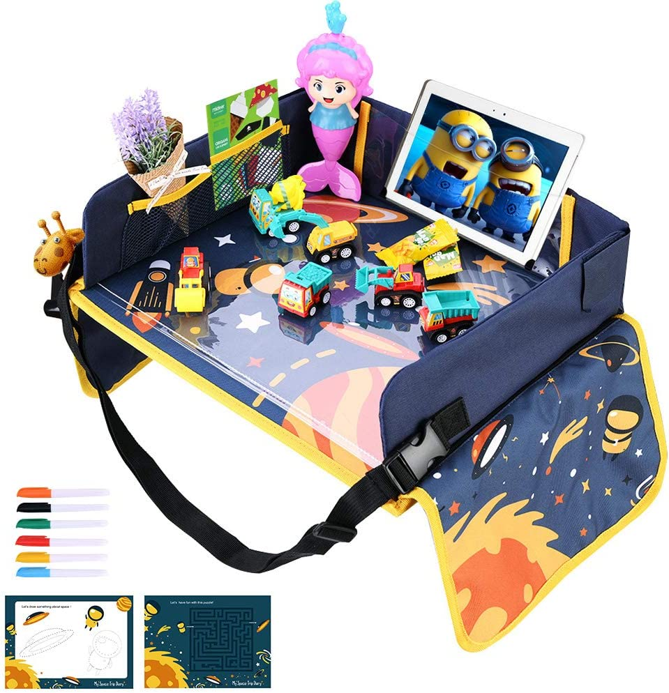 5 Pens Multifunctional Adjustable Car Seat Tray Snack /& Play Tray with 2 Unique Drawing Paper lenbest Kids Travel Tray Universe Theme