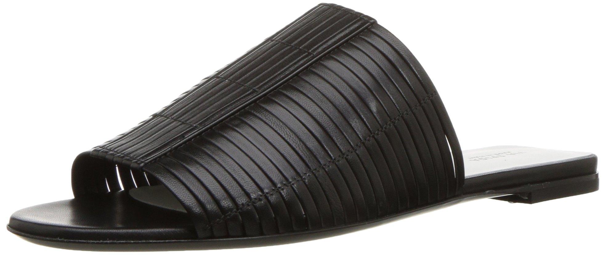 Via Spiga Women's HARLOTTE Woven Slide Sandal, Black Leather, 8 Medium US