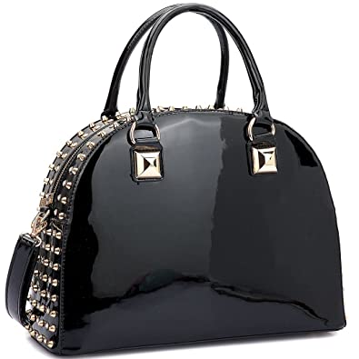 86d2b6da10 Amazon.com  Dasein Patent Rhinestone Handbags for Women Studded Dome Zip  Around Shoulder Bags Designer Purses  Shoes