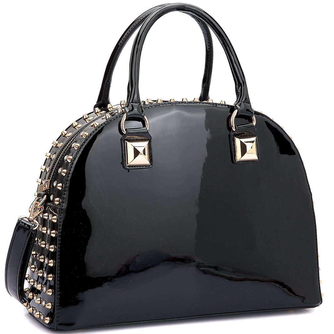 Dasein Patent Rhinestone Handbags for Women Studded Dome Zip Around Shoulder Bags Designer Purses