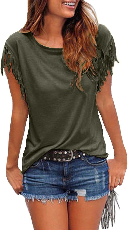 StyleDome T-Shirt Donna Maglietta Maniche Corte Bello Maliga Solido Colore Elegante Casual Sera Camicetta Top