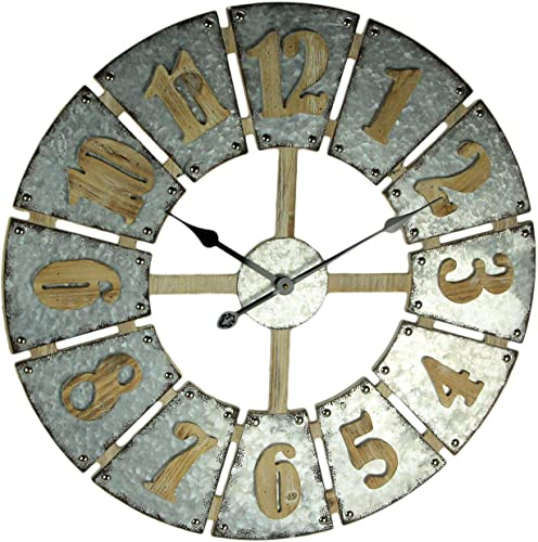 Concepts Big Wall Clock Big Numerals Metal Features Grey Cool Color Amazing Decor Style 27'' Inche