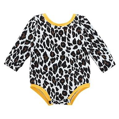 Xmiral Recién Nacido Mameluco con Estampado Leopardo Pijama Bebés Niñas Peleles con Lazo Trajes de Bautizo