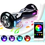 TOMOLOO Hoverboard with Bluetooth Speaker Smart Scooter Two-Wheel Self Balancing Electric Scooter and Lights - Black Hover Board with UL2272 Certified for for Adults and Children.