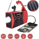 [2020 Premium Version] Emergency-Solar-Hand-Crank-Radio,Puiuisoul Portable NOAA Weather Radios with AM/FM, Alarm,Reading Lamp,2000mAh Power Bank(Red)