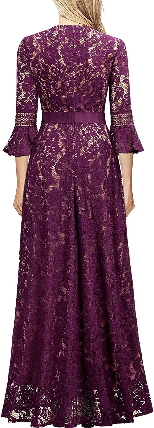 MIUSOL Women's Vintage Lace Embroidered Long Evening Dress