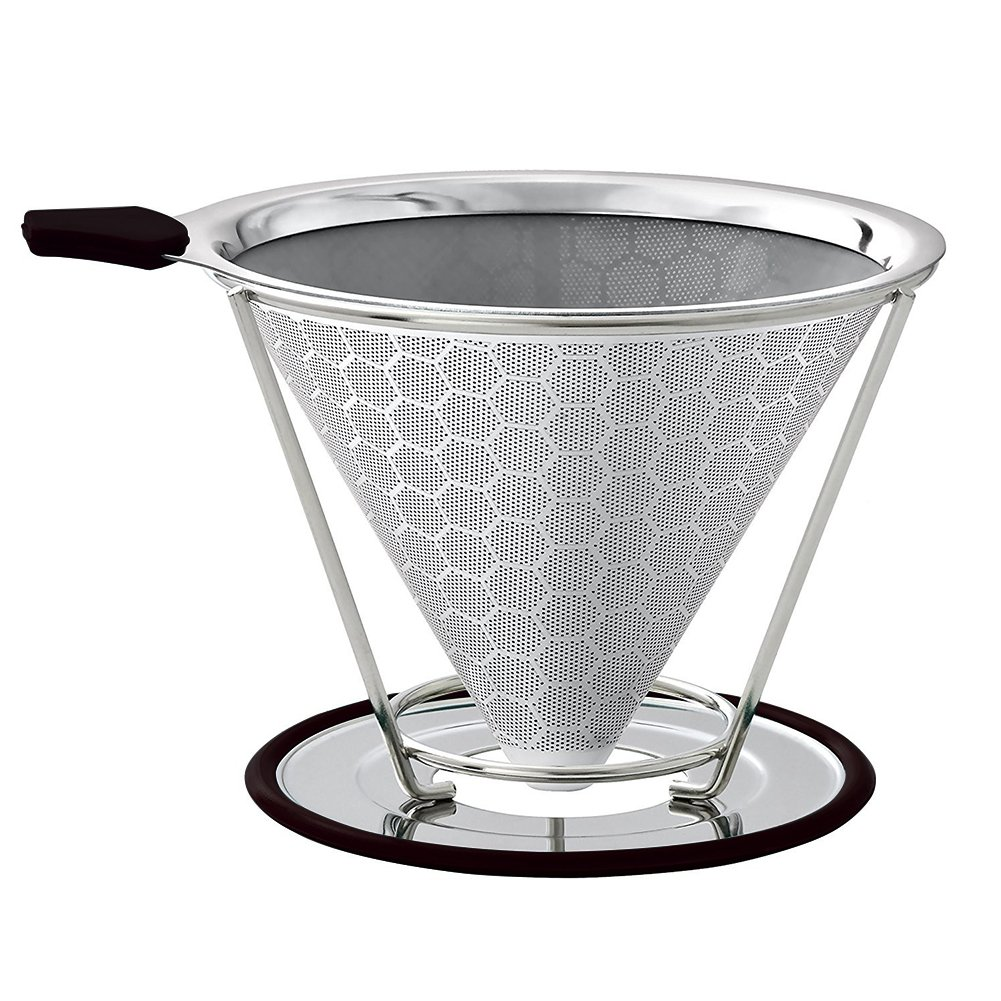 Cone Coffee Filter, Pour Over Stainless Steel Coffee Dripper Paperless, Double Layer Exquisite Honeycomb Design Reusable Fine Mesh Micro Filter With Non-slip Cup Stand for 1-4 cups Ragdoll50