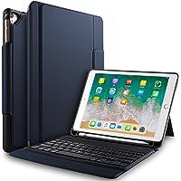 IVSO Apple Nuevo iPad 9.7 Pulgadas Caja de Teclado inalámbrico, Ultra-Thin Stand Funda de Teclado con Ranura para lápiz para el Nuevo iPad 9.7 2018/2017/iPad Pro 9.7/iPad Air 2/iPad Air Tablet (Azul)