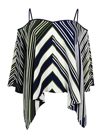 c8ab777e1d3 Image Unavailable. Image not available for. Color: Tommy Hilfiger Women's  Striped Cold-Shoulder Top ...