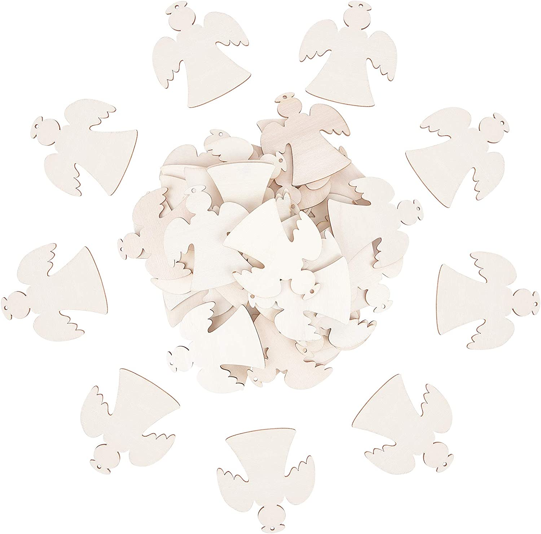 40 Rouleaux Cordon de Chanvre pour la D/écoration darbre de No/ël de Fen/être Murale Suspendue 40pcs Grands Pendentifs en Bois dange Naturel PandaHall 40 Ensembles Artisanat en Bois pour Accrocher