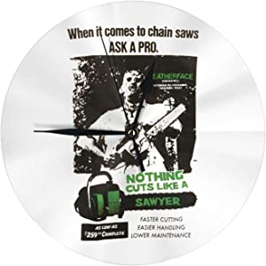 Texas Chainsaw Massacre Wall Clock Silent Non Ticking, Quiet Clock Easy to Read for Kitchen Office School Classroom Home Decor Wall Clock Art