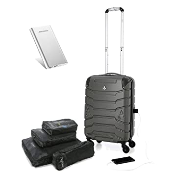 1e7028cf0 Aerolite Equipaje de cabina Gris Charcoal + Powerpack + Packing cube CABIN:  Amazon.es: Equipaje