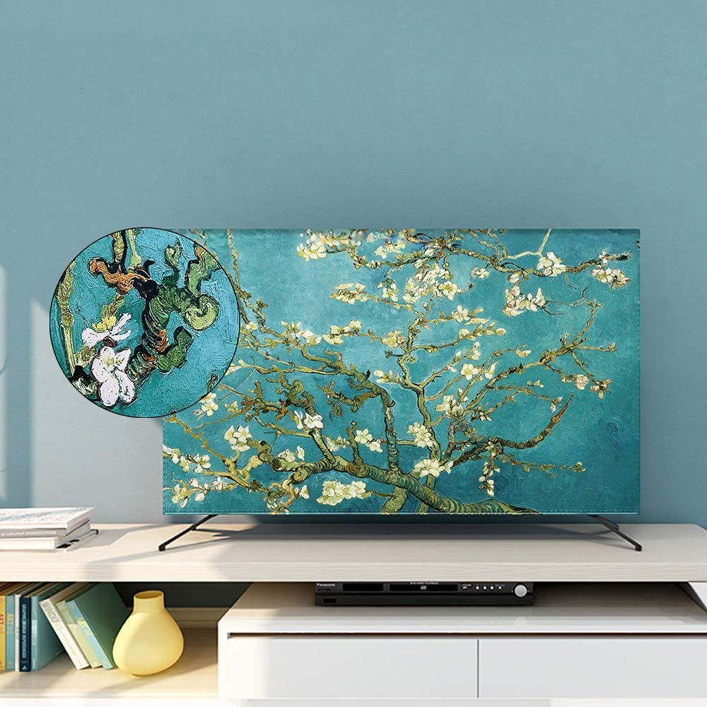 32 inch Lucky Tree Indoor TV Set Cover 100/% Polyester Fibers Green Printing and Dyeing Process Screen Decoration for Flat Screen Curved Screen