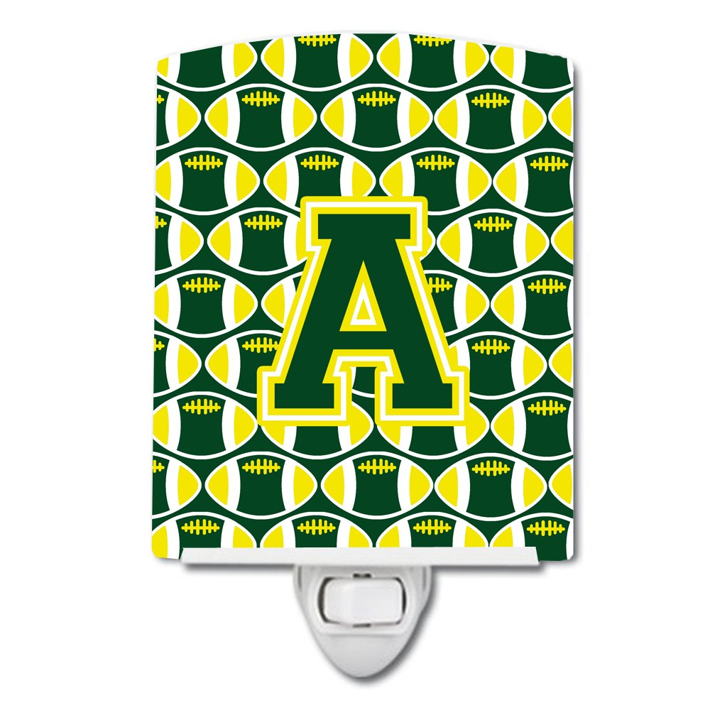 Carolines Treasures Letter A Football Green and Yellow Ceramic Night Light 6x4 Multicolor