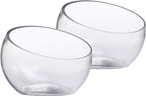 Whole Housewares Glass Slant Cut Bowl, Glass Terrarium, Globe Plant Vases, Candle Holders, Candy Jar Dia 7 X H 5