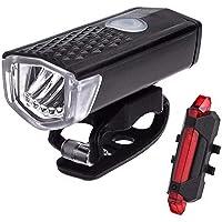 SEEZEN Oplaadbare fietslampenset, superhelder voorlicht en achterlicht voor led-fiets, 1200 mA, lithiumbatterij…