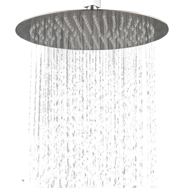 Hiendure 304-grade Stainless Steel 16-inch Solid Round Ultra Thin Rain Shower Head, Chrome