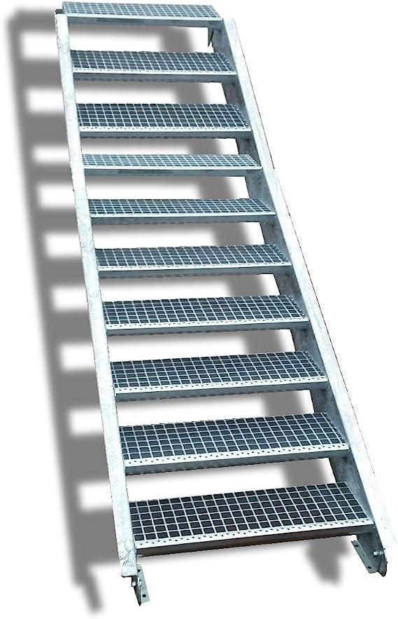 Acero Escalera exterior Escaleras mejilla Escaleras galvanizado 10 peldaños GH 150 – 200 cm 10 – 120 de Z: Amazon.es: Bricolaje y herramientas