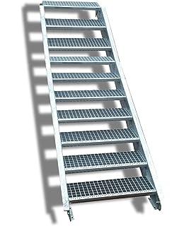 Acero Escalera exterior Escaleras mejilla Escaleras galvanizado 6 ...