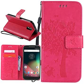Dooki, Moto G4 / G4 Plus Funda, Estar Flip PU Cuero Billetera Caso Carcasa Para Motorola Moto G4 / G4 Plus Con Crédito Tarjeta Poseedor Espacio