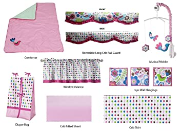 266cc23a1 Amazon.com : Bacati Botanical Girls 10 Piece Crib Bedding Set, Pink : Baby