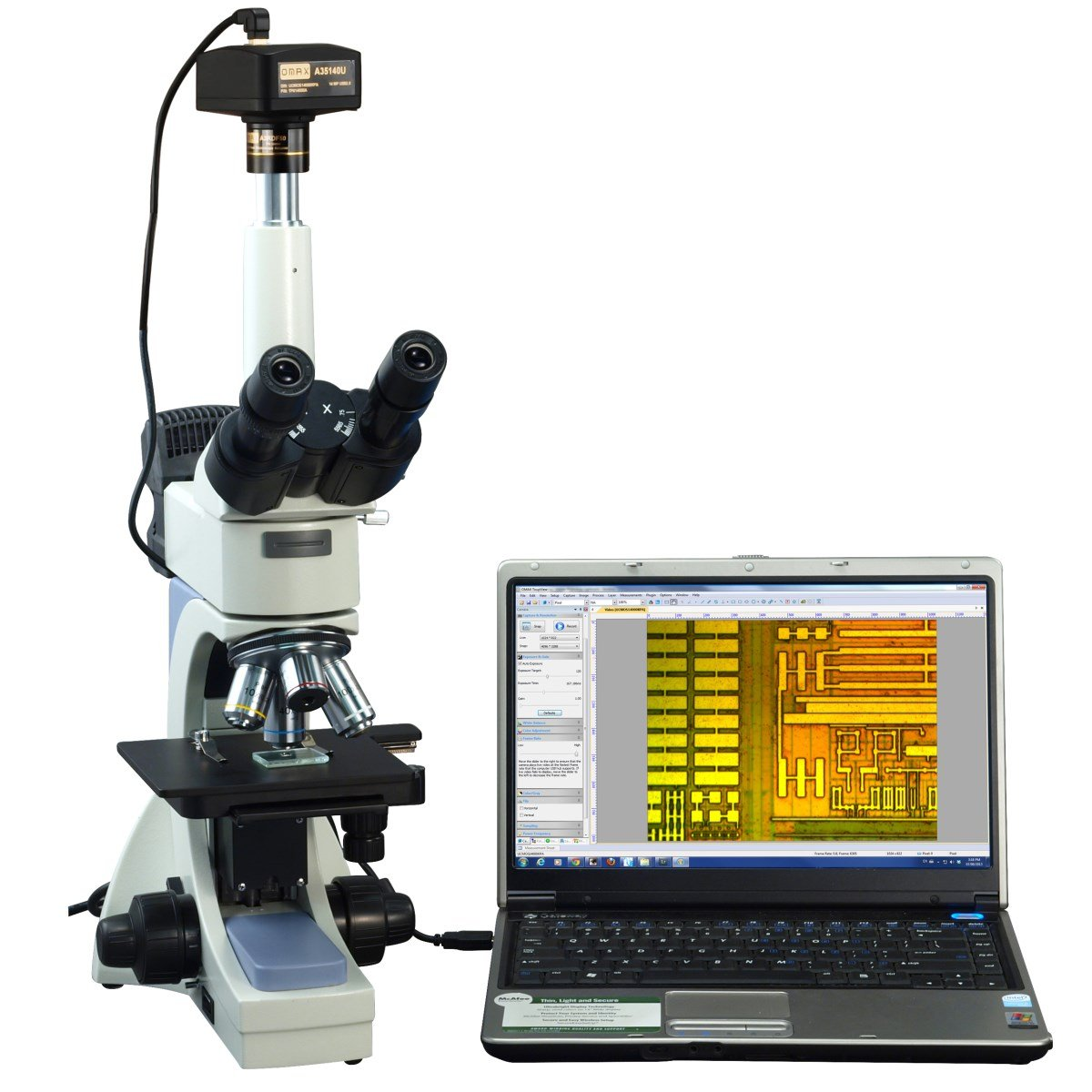 OMAX 40X-2500X Digital Infinity Trinocular Polarizing Metallurgical Microscope with 14MP Camera and 100X Dry Objective by OMAX