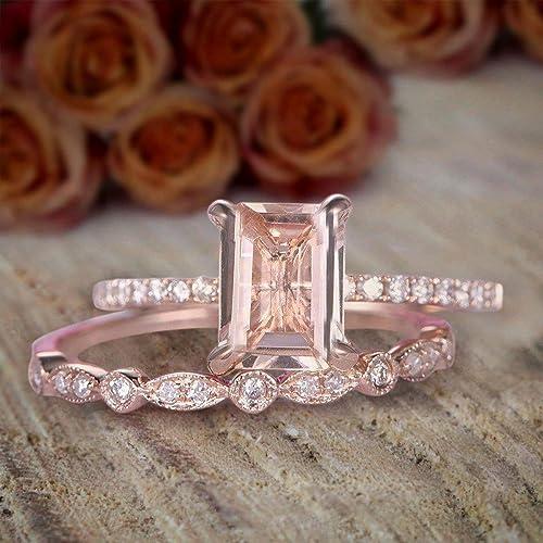Wedding Ring On Sale.1 50 Carat Emerald Cut Morganite And Diamond Bridal Amazon Com