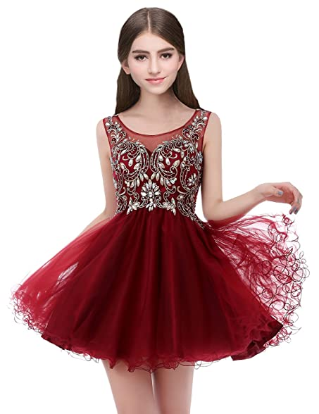 Clearbridal Womens Short Tulle Prom Gown 2018 Juniors Beaded Homecoming Dresses Burgundy
