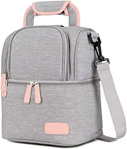 Meich Waterproof Breast Milk Baby Bottle Cooler Bag - Portable Thermal Insulated Lunch Box/Large Capacity Handbag/Baby Milk Bag Freezer/for Work Mommy Women Men Kids XC01 Grey