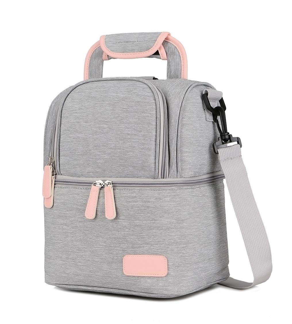 Meich Waterproof Breast Milk Baby Bottle Cooler Bag - Portable Thermal Insulated Lunch Box/Large Capacity Handbag/Baby Milk Bag Freezer/for Work Mommy Women Men Kids XC01 Grey by Meich