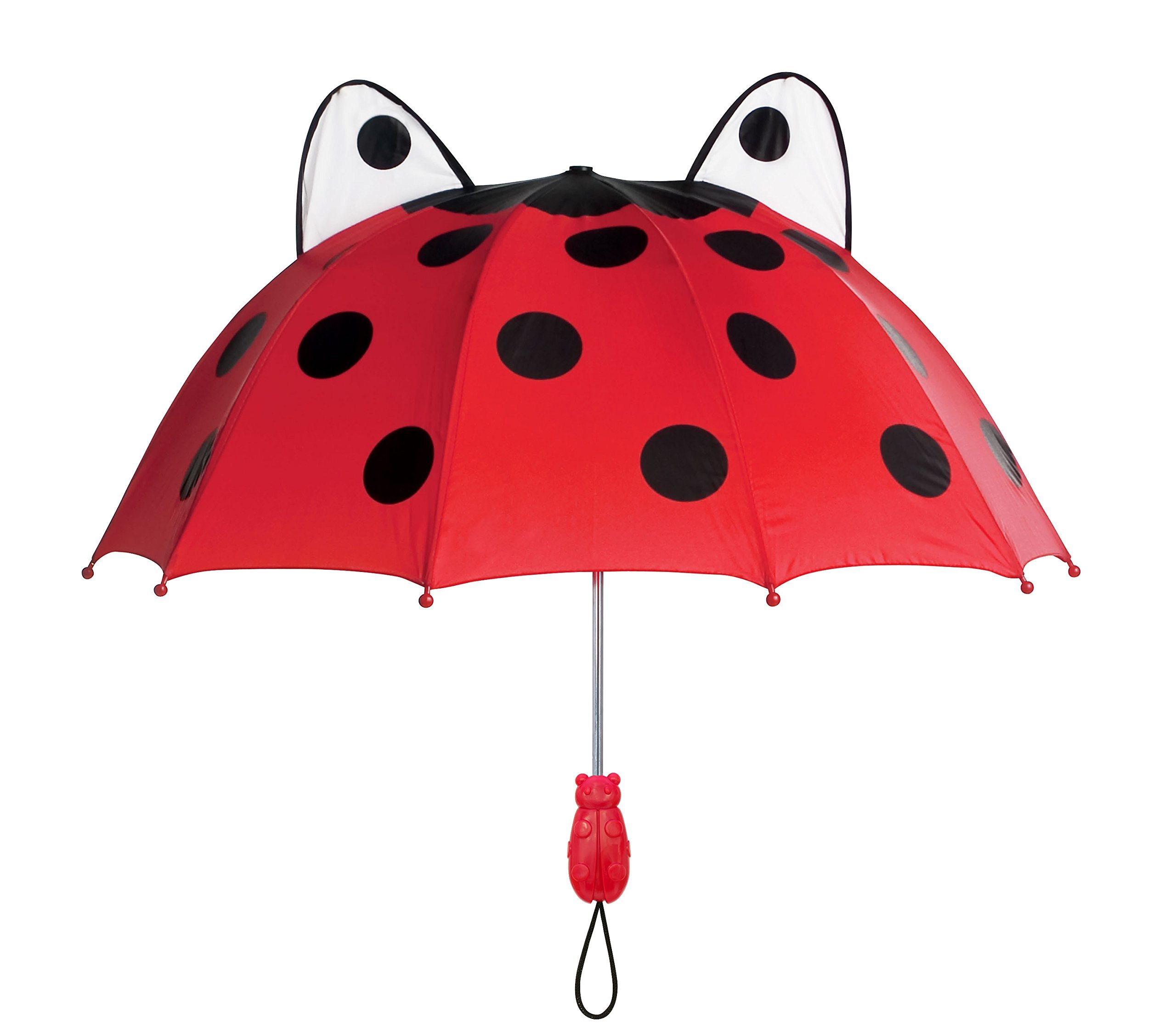 Kidorable Red Ladybug Umbrella for Girls w/Fun Ladybug Handle Pop-Out Eyes Polka Dots Kid Sized